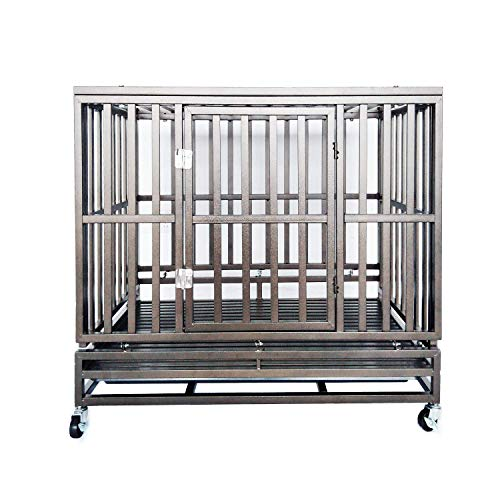 Caymus Heavy Duty Dog Crate,Steel Metal Pet Kennel Playpen with Four Removable & Lockable Wheels,Two Prevent Escape Lock and Steel Tray (42 INCH) Categories