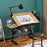 Dripex Mesa de Dibujo Profesional con Tablero Inclinable Altura Ajustable, Artista de Pintura...