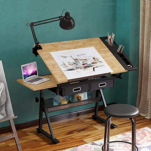 Dripex Tavolo da disegno con piano inclinabile regolabile in altezza - Artist Tavolo da architettura, studio, disegno, scrivania per computer, con sgabello e 2 cassetti per architettonici e tecnici