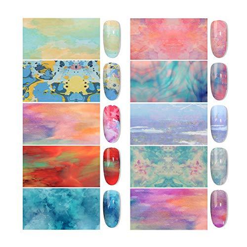 Holografische nagelfolies, 10 Stks/set DIY Manicure Nagel Art Wraps Gemengde Kleurrijke Marmeren Transfer Folie Papier 3D Decor Sterrenhemel Nagel Sticker