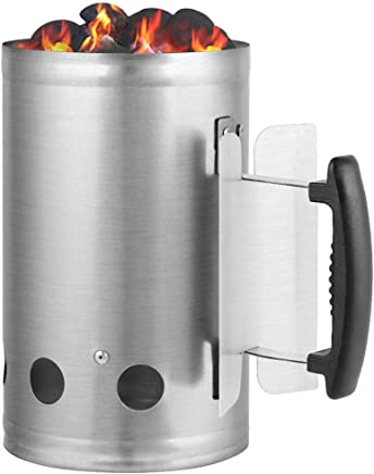 """Charcoal Chimney Starter 11""""X7"""" Grill Barbecue BBQ Galvanized Steel Chimney Lighter Basket Outdoor Cooking Quick Rapid Fire Briquette Charcoal Starters Can Canister for Grilling Camping Accessories"""