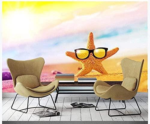 Vinilos decorativos para pared Vinilos decorativos para pared Vinilo infantil Playa creativa con gafas de sol Pared Pintado Papel tapiz 3D Decoración dormitorio Fotomural sala sofá mural-150cm×105cm