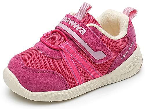 Ahannie Jungen und Mädchen Leder Sneaker, Unisex-Kinder Outdoor Laufschuhe, Baby Gymnastikschuhe (Color : Magenta, Size : 21 EU)