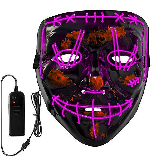 Neusky Halloween Mask, LED Light Up Mask, Purge Mask for Halloween Carnival Masquerade (2020 Black-Purple)