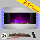 AKDY 36 inch Wall Mount Modern Space Heater Electric Fireplace...