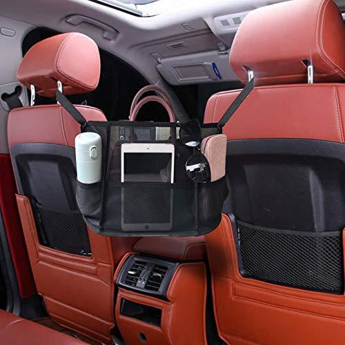 Car Net Pocket Handbag Holder, car purse holder between seats, hanging car purse holder storage bags, Barrier of Backseat Pet Kids, car seat organizer front seat, backseat car organizers