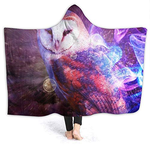 Dor675ser Hooded Blanket, Purple Glowing Owl Hoodie Blanket Coral Plush Ultra Soft Plush Leisure Wear Hooded Throw Wrap 60 x 80 Inch Wearable Blanket with Hood