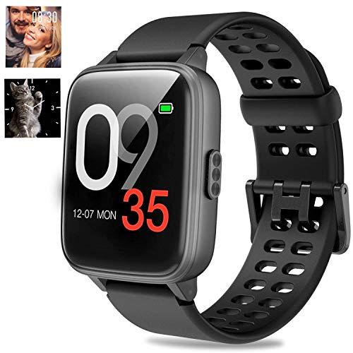 Jogfit Smartwatch Schwimmen Fitness Armband DIY Hintergrund Wasserdicht IP68, Smart Watch mit Pulsmesser Schlafmonitor Aktivitätstracker Schrittzähler Stoppuhr Sportuhr Damen Herren für iOS Android