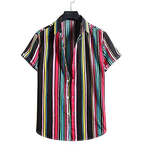 Casuales Camisas Hombre Moda Color Rayas Hombre Playa Shirt Verano Botón Placket Holgada Manga Corta Camping Hombre Hawaii Camisa YC04 L