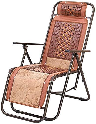 Aoyo Sillas reclinables en alfombra de bambú para verano plegable Mahjong Mat Siesta Lazy Office al aire libre portátil de playa, pesca, color marrón
