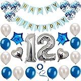 Haosell 12 Anniversaire Décoration Set Argent Bleu Décoration Anniversaire Fête d'Anniversaire Décoration Happy Birthday Bannière 12 Ans Ancien Argent Chiffres Ballons Décoration pour Fille, Garçon