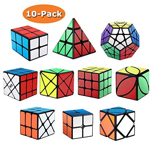 ROXENDA Zauberwürfel Set, [10er Pack] Speed Cube Set - 2x2x2 3x3x3 2x2x3 Skew Axis Windmill Fisher Ivy Megaminx Pyramide Zauberwürfel Smooth Magic 3D Puzzle Spielzeug