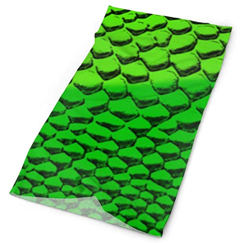 Voxpkrs Green Snake Skin Headwrap Unisex Headwear Headband Neck Scarf Polyester Hairband Magic Head Scarf Bandana Vintage Headdress Face Mask Neck Gaiter