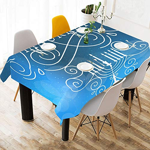 Chawzie Greeting Happy Hanukkah Celebration Custom Cotton Linen Printed Square Stain Resistant Table Linens Cloth Cover Tablecloth for Kitchen Home Dining Room Tabletop Decor 60 X 84 Inch Washable