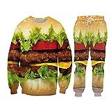 Masculino 2-Piece Hamburger Sportswear Traje 3D Impresión Sudaderas Hombres Casual Coat Tops, Swpa00197, L