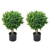 Pure Garden 50-10008 Set of 2 24' Hedyotis Artificial Tree Topiary in/Out Door, 17x17