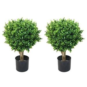 Pure Garden 50-10008 Set of 2 24″ Hedyotis Artificial Tree Topiary in/Out Door, 17×17