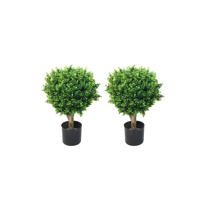 """silk flower arrangements pure garden 50-10008 set of 2 24"""" hedyotis artificial tree topiary in/out door, 17x17"""