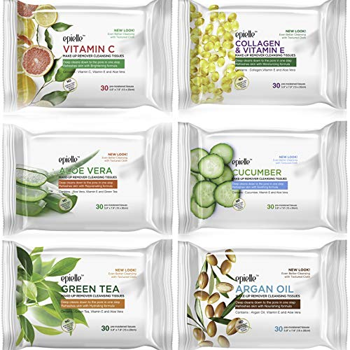 Epielle New Make-Up Remover Cleansing Tissues, 30 Count (Assorted 6 Pack) 1-Vitamin C, 1-Collagen & Vitamin E, 1-Aloe Vera, 1-Cucumber, 1-Green Tea, 1-Argan Oil