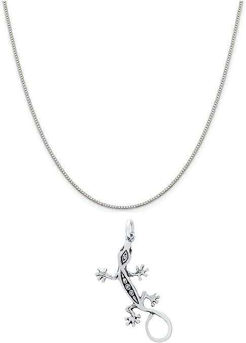Minimalist Sterling silver choker necklace lizard charm gecko