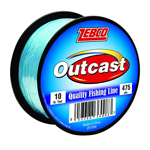 Zebco Outcast Monofilament Fishing Line, Low Memory and Stretch with High Tensile Strength, Blue, One Size (300210)