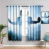 VICWOWONE Rideau de style campagne, 160 cm de long, forme héroïque, silhouette de joueur de rugby debout dans le brouillard, aire de jeux mondial, sport, photo, café, rideau bleu 132 x 160 cm