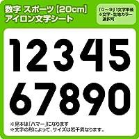 アイロン数字ワッペン(スポーツ20cmサイズ)  ※0~9まで1文字単位でお申込み頂けます 生地:刺繍調 (白) ハマー