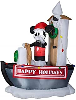 Disney Lighted Mickey Mouse on a Ship Christmas Inflatable 6.99-ft