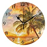 KUWT Beach Palm Tree Wall Clock Silent Non-Ticking 9.5 Inch Round Clock Acrylic Art Painting Home Office School Decor