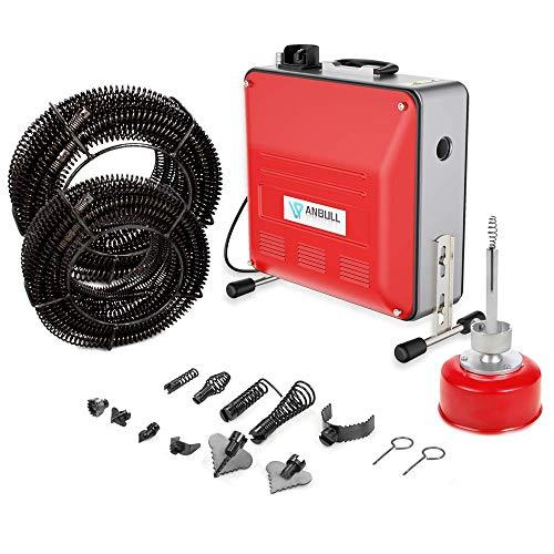 Anbull 850W elektrische Rohrreinigungsmaschine,230V Rohrreiniger, rohrreinigungsspirale,Doppelriemengetriebe,geeignet für Ø20-150 mm Rohrleitungen, Abflussreiniger mit Ø10mm 16mm 22mm Spiralen