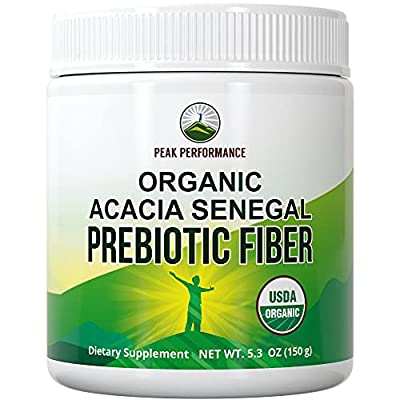 Organic Acacia Senegal Prebiotic Fiber Powder. USDA Organic Plant Based Vegan Prebiotics Supplement for Gut, Blood Sugar Control. with Digestive Enzymes for Digestion, Roughage Without Bloating, Gas