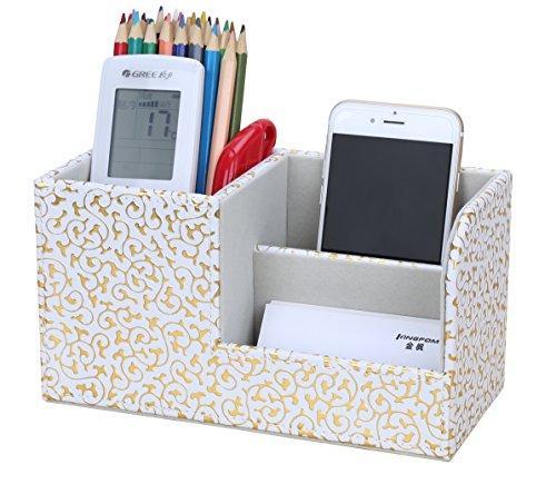 LiLan Büro Schreibtisch Organizer Ordnungssystem 3 Speicherabteil PU Leder Stiftebox Stifteköcher Bürobedarf (Gold Decorative)