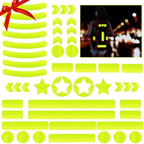 JIASHA Adesivi Riflettenti,Adesivo Riflettente Notte per Ciclismo,Adesivo Catarifrangente Impermeabile per carrozzine,biciclett,Casco,Skateboard,Ginocchiere e Altro (Giallo)