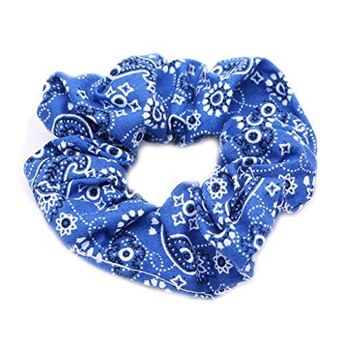 JERKKY Femmes Filles Froncées Plissée Gros Intestin Cheveux Corde Ethnique De Bohème Rétro Paisley Floral Imprimé Titulaire De Queue De Cheval Bandanna Scrunchies Deep Blue
