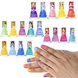 Townley Girl Disney Princess Non-Toxic Peel-Off Nail Polish Set for Girls, Glittery and Opaque Colors, Ages 3+ - 18 Pack