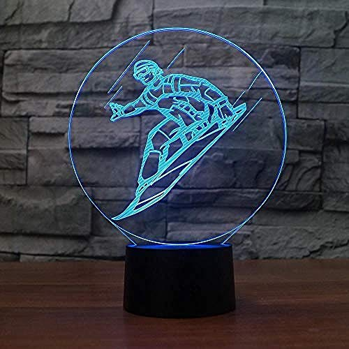 Neuheit 3D Snowboard Modellierung Led Tischlampe Usb Skifahren Nachtlicht Wohnkultur Touch-Taste Leuchte Kinder Schlaf Geschenke