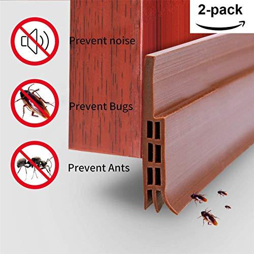 YDFYX Dichtungsband für Türen, Selbstklebende Tür Türdichtung Dichtungsstreifen Zugluftstopper gegen Insekt Ersatzdichtung Wetterfest Blocker Schalldichtung Silikon Türstopper (100 X 5 cm, 2PCS Brown)