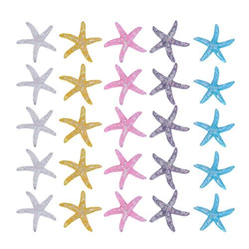 BESPORTBLE Resina Estrella de Mar Ornamento Natural Estrella de Mar Océano Playa Artesanía Cuentas para Acuario Pecera Relleno Boda Fiesta en La Playa Favores 25 Piezas