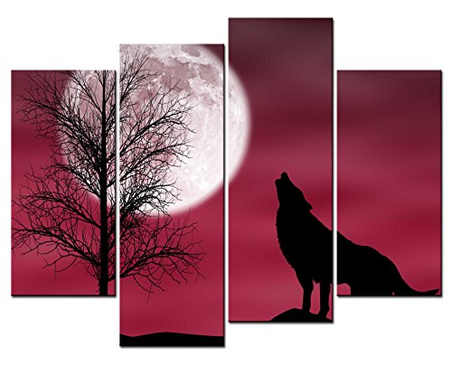 SmartWallArt® - Animal Paintings Wall Art Howling Wolf in a Dark and Cloudy Night with Moon 4 Panel Picture Print on Canvas for Modern Home Decoration