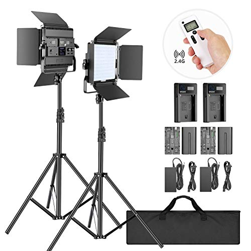 Neewer 2-Pack 2.4G LED Video Light with 2M Stand Bi-Color 200 SMD CRI 94+/U-Bracket/Barndoor/LCD Display Video Lighting Kit for Studio Photography, Remote/Battery/Charger/Case Included