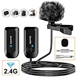 Professional 2.4G Wireless Microphone Set, Wireless Lavalier Microphone with Lavalier Lapel Mics, Compatible with Bus Amplifier, PA Speaker, Home Theater and Public Speaking, Wedding, Presentations