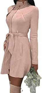DressU La Mujer Solid Zip Slim Plus Velvet Strappy Outwear Chaqueta de Cuello Alto