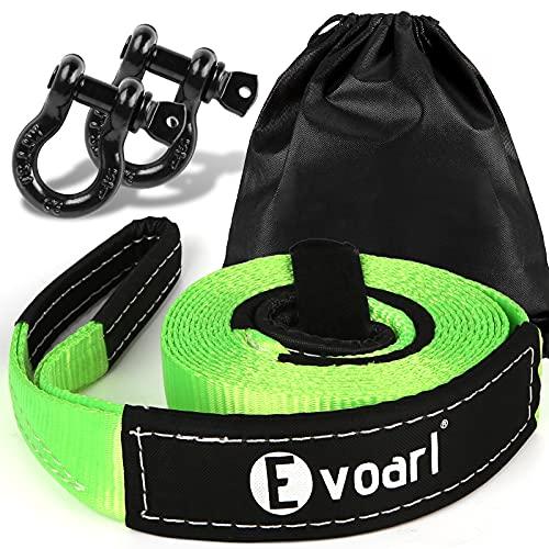 EVOARL Cuerda de remolque 8T resistente a la rotura (probado en laboratorio), correa de remolque con extremos reforzados, correa de montaña para coches, 4 x 4, SUV, todoterreno, remolque verde