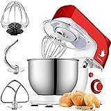 Nestling 5L Multifonctionn Pétrisseur Robot Pâtissier, mélangeur électrique de Cuisine à tête inclinable à 6 Vitesses 800W,Crochet pétrisseur, Fouet, Salade, gâteau - Rouge
