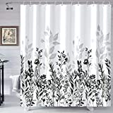 Neasow Black and Grey Shower Curtain, Watercolor Floral Bathroom Curtain Black and White Shower Curtains 72×72 inches