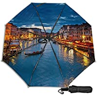 Mescchsk Venice Night Umbrella 防風 Uv 抗 Uv 旅行傘 太陽の傘 - コンパクト、軽量、強力、ポータブル - 防風、折りたたみ式バックパック傘 雨用 - 男性と女性