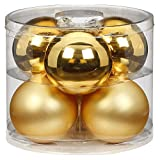 MAGIC Bolas de Navidad de cristal, 10 cm, 6 unidades, color dorado inagolvado brillante/mate