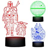 CENOVE 3D Illusion Star Wars Night Light for Kids,3 Pattern with Timing Function Star Wars Toys Decor Lamp,Baby Yoda Mandalorian Toys Gifts for Kids and Star Wars Fans
