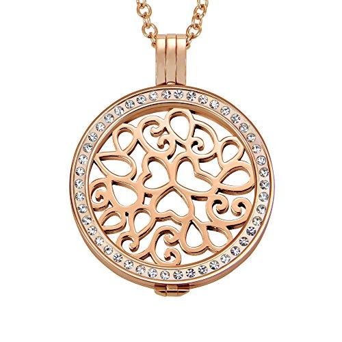 Quiges 90cm Halskette Set Rosegold Edelstahl mit Anhänger und 33mm Groß Lockig Baum des Lebens Silver Coin