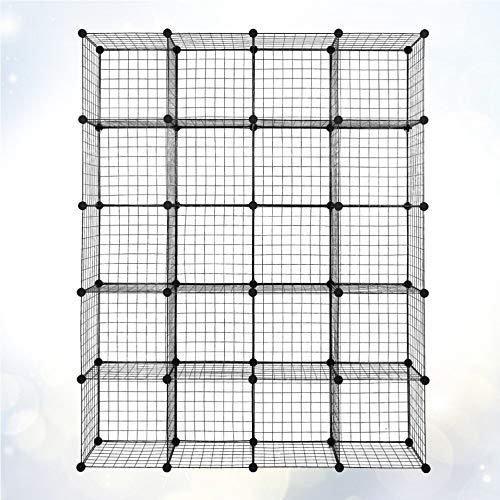 Chaowen 1 juego de 20 cubos organizadores de almacenamiento de cubos de alambre de almacenamiento de origami, estantes de rejilla de metal multifunción, estantería modular o